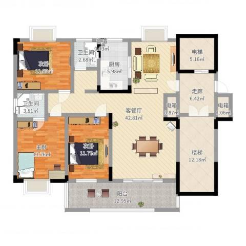香樟景苑3室2厅2卫1厨163.00㎡户型图