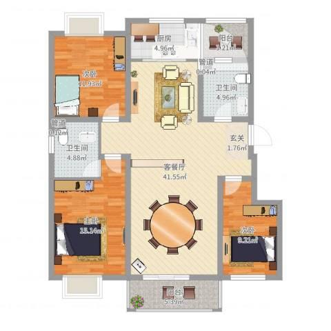 东润・公园壹号3室2厅2卫1厨127.00㎡户型图