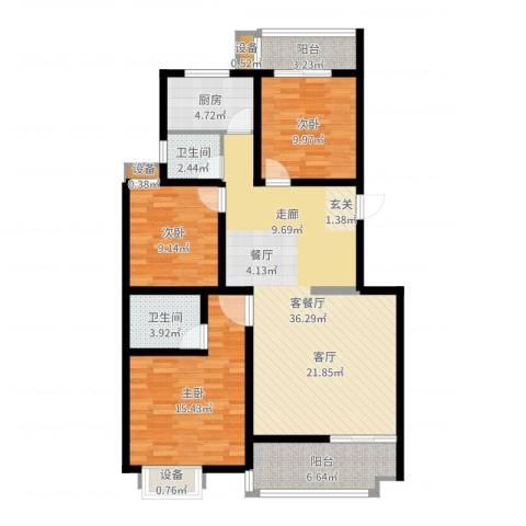 江尚天地3室2厅2卫1厨117.00㎡户型图