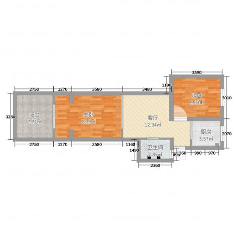齐七小区2室1厅1卫1厨62.00㎡户型图
