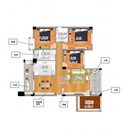 凤凰花园4室2厅2卫1厨147.00㎡户型图