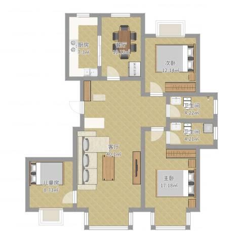 紫雁朗庭3室2厅2卫1厨130.00㎡户型图