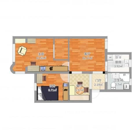 平吉二村2室2厅1卫1厨67.00㎡户型图