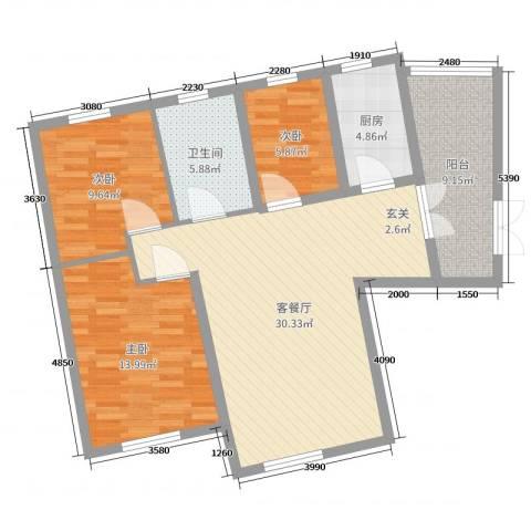永泰枕流GOLF公寓3室2厅1卫1厨100.00㎡户型图