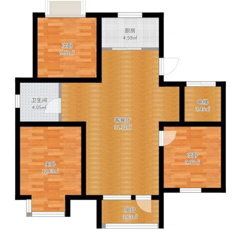 荣盛・幸福大道3室2厅1卫1厨98.00㎡户型图