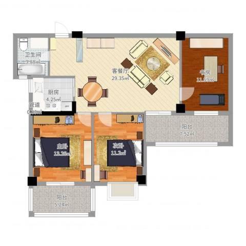 富安・森活印象3室2厅1卫1厨108.00㎡户型图