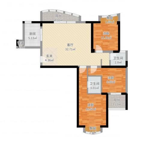 康龙国际广场·龙吟台3室1厅2卫1厨111.00㎡户型图