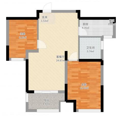 新城域2室2厅1卫1厨83.00㎡户型图
