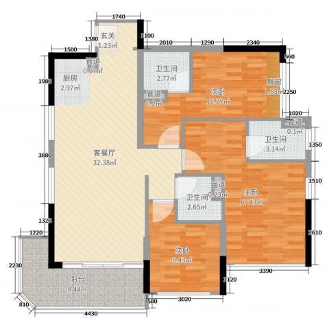 碧桂园金海湾3室2厅3卫0厨110.00㎡户型图