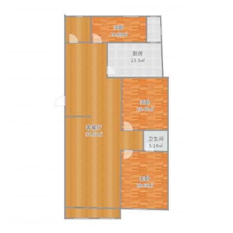 领世郡3室2厅1卫1厨258.00㎡户型图