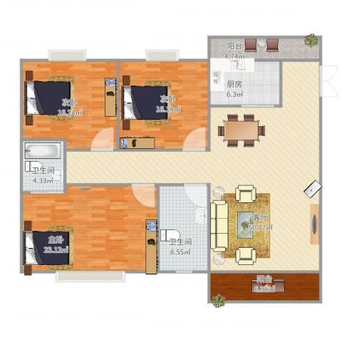 东明花园7栋1013室1厅2卫1厨182.00㎡户型图