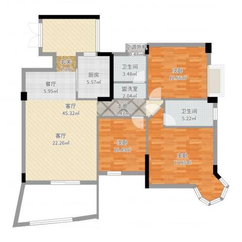 金星小区3室1厅2卫1厨126.00㎡户型图