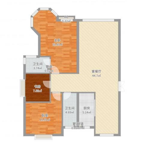 香槟美景2室2厅2卫1厨125.00㎡户型图