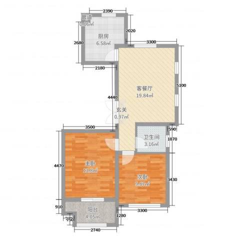 花栖左岸2室2厅1卫1厨84.00㎡户型图