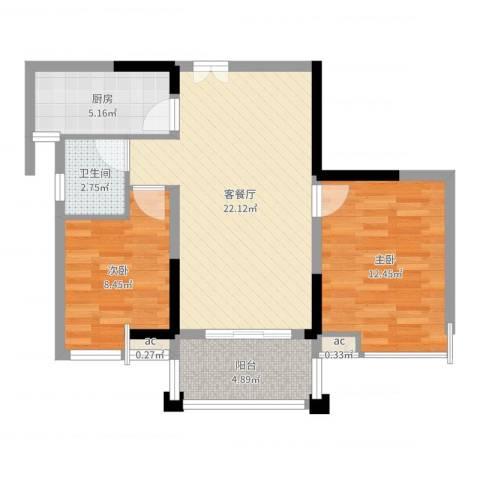 宝安椰林湾2室2厅1卫1厨71.00㎡户型图
