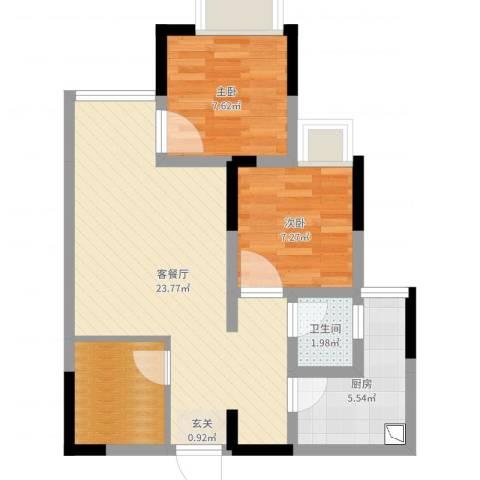 桂馥家园2室2厅1卫1厨64.00㎡户型图