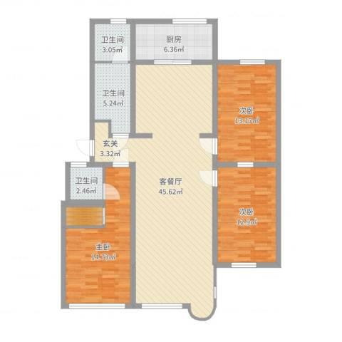 康乐园3室2厅3卫1厨131.00㎡户型图