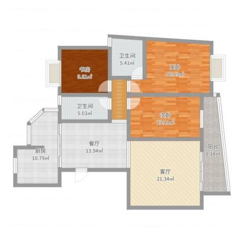 景鸿苑3室2厅2卫1厨133.00㎡户型图