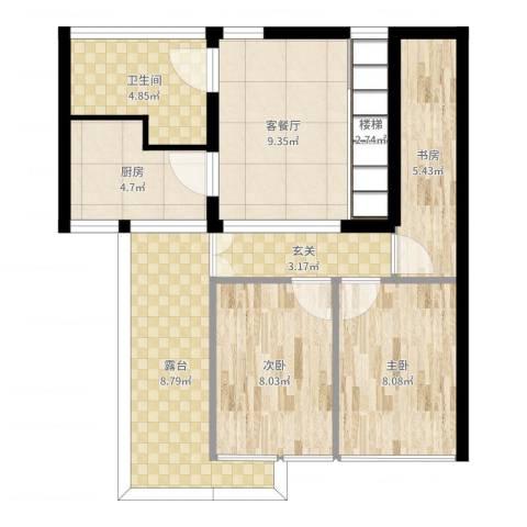 甫澄熙岸6楼1F3室2厅1卫1厨69.00㎡户型图