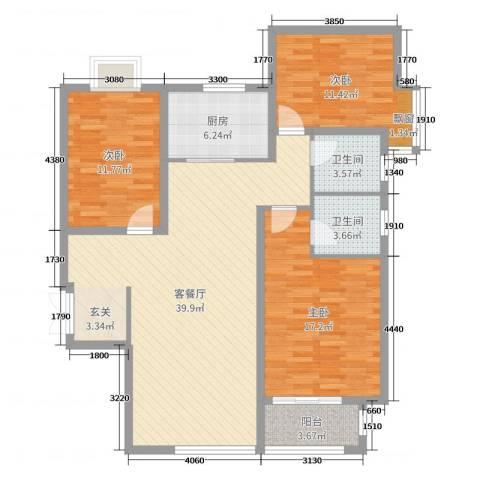 龙溪城3室2厅2卫1厨122.00㎡户型图
