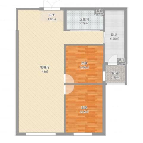 首创・龙湾2室2厅1卫1厨100.00㎡户型图