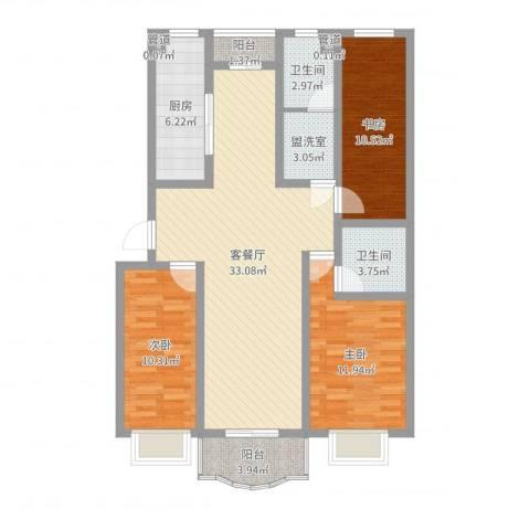 南国风光3室4厅2卫1厨109.00㎡户型图