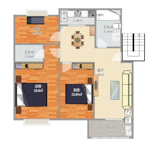 阳海景怡3室1厅2卫1厨105.00㎡户型图