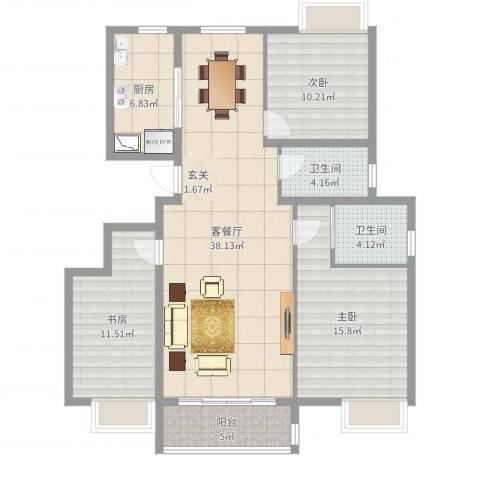 新城明珠3室2厅2卫1厨120.00㎡户型图