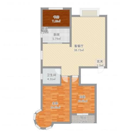 碧海绿洲3室2厅1卫1厨110.00㎡户型图