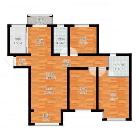 鲁能7号院・溪园3室2厅2卫1厨118.00㎡户型图