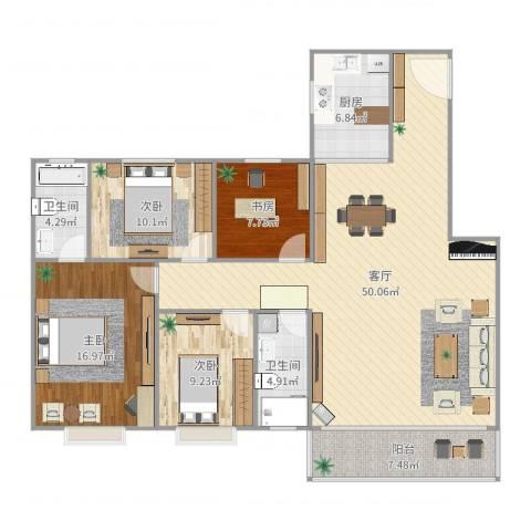 清华苑4室1厅2卫1厨147.00㎡户型图
