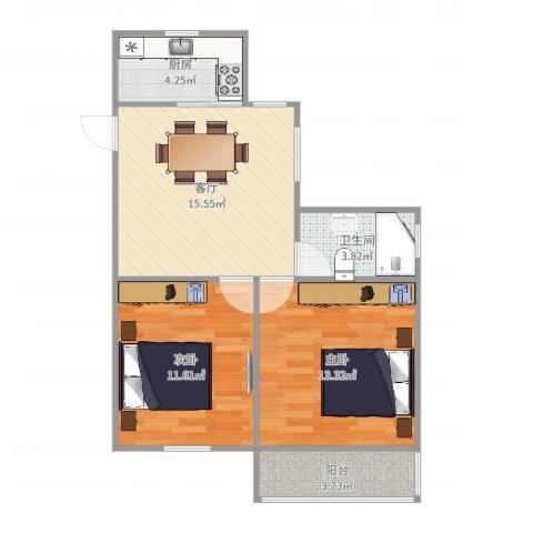 南溪二村2室1厅1卫1厨65.00㎡户型图