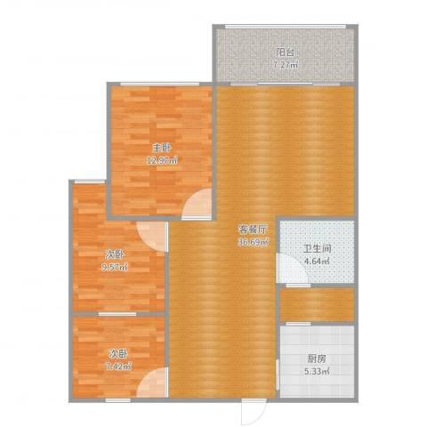 秀水雅苑3室2厅1卫1厨108.00㎡户型图
