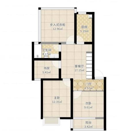 甫澄熙岸2期3室2厅1卫1厨88.00㎡户型图