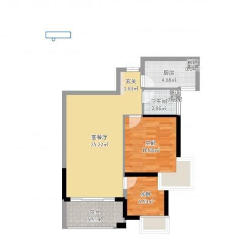 九仰梧桐公寓2室2厅1卫1厨69.00㎡户型图