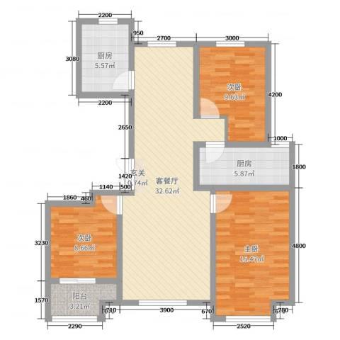 花栖左岸3室2厅0卫2厨114.00㎡户型图