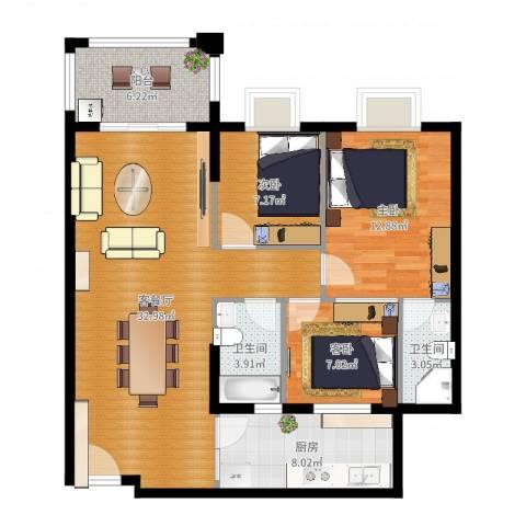 丽南名都3室2厅2卫1厨102.00㎡户型图