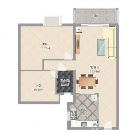 翠怡居住宅2室2厅1卫1厨99.00㎡户型图