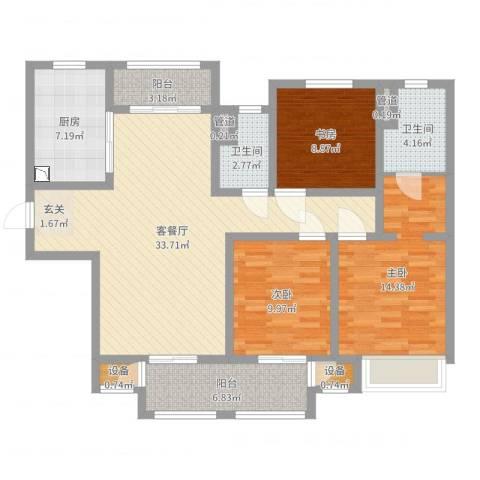 吾悦国际广场3室2厅2卫1厨116.00㎡户型图
