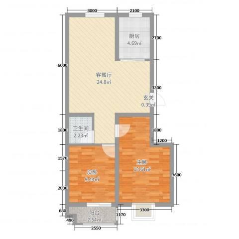 山海宜家2室2厅1卫1厨78.00㎡户型图