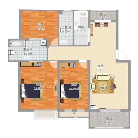 万科北区3室1厅2卫1厨142.00㎡户型图