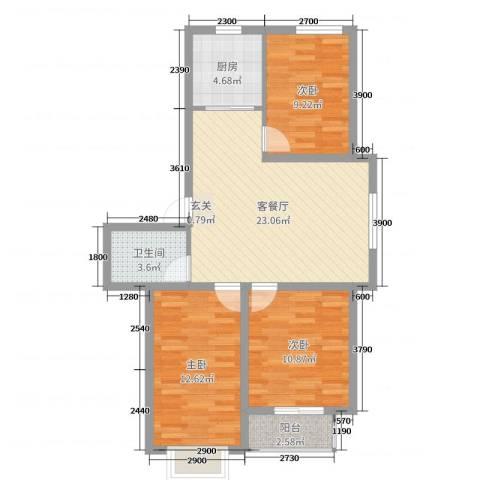 山海宜家3室2厅1卫1厨96.00㎡户型图