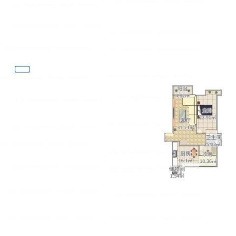 海上钓鱼台小区2室1厅1卫1厨99.00㎡户型图