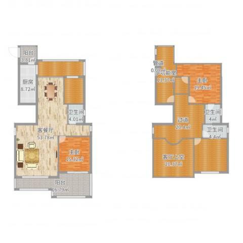 新景缘2室2厅3卫1厨274.00㎡户型图