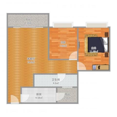 凯茵新城雅湖居2室2厅1卫1厨76.00㎡户型图