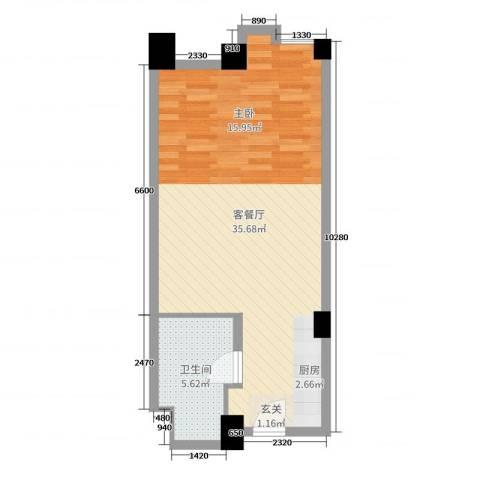 牡丹珑庭2厅1卫0厨52.00㎡户型图