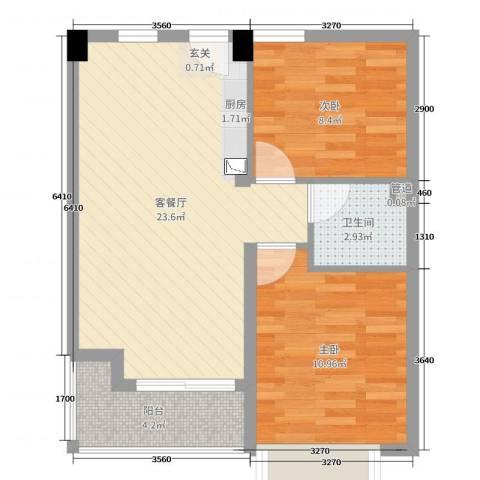 华亚・海岛假日2室2厅1卫0厨68.00㎡户型图