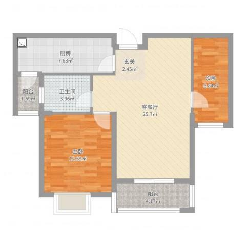 伊顿华府2室2厅1卫1厨78.00㎡户型图