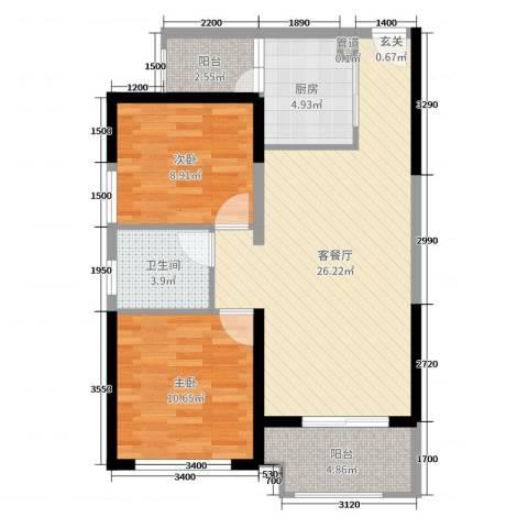 君怡花园2室2厅1卫1厨81.00㎡户型图