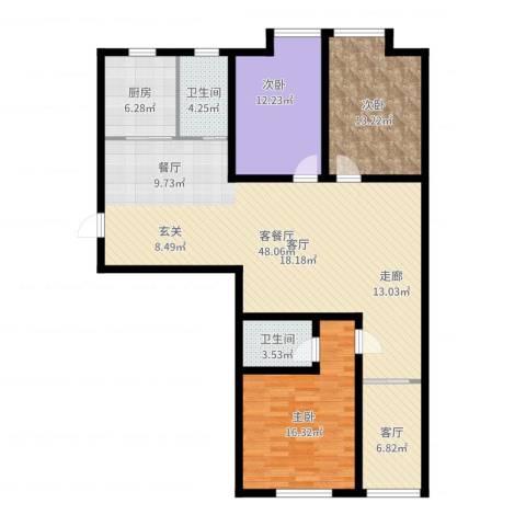 西港雅苑3室3厅2卫1厨138.00㎡户型图